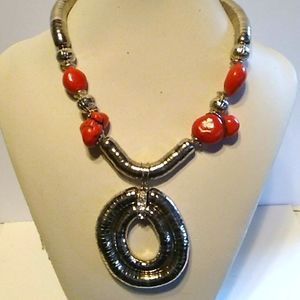 Nwt Red and Silver Necklace set